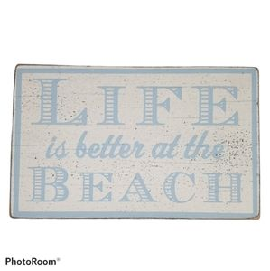 Wooden Beach Sign - Blue and White Rustic …
